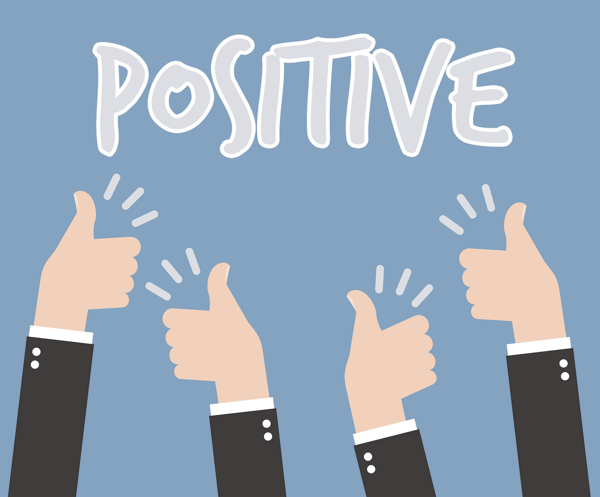 Positive banner with 4 thumbs up